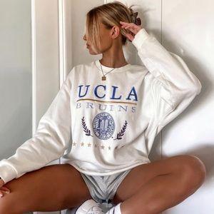 Princess polly UCLA white cream crewneck sweater